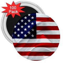American Usa Flag 3  Magnets (100 Pack)