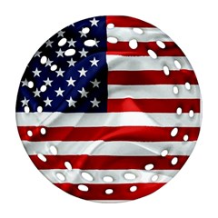 American Usa Flag Round Filigree Ornament (two Sides)