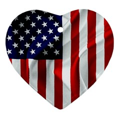 American Usa Flag Vertical Ornament (heart)
