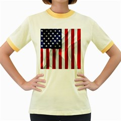 American Usa Flag Vertical Women s Fitted Ringer T Shirts