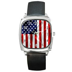 American Usa Flag Vertical Square Metal Watch