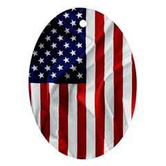American Usa Flag Vertical Oval Ornament (two Sides)