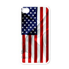 American Usa Flag Vertical Apple Iphone 4 Case (white)