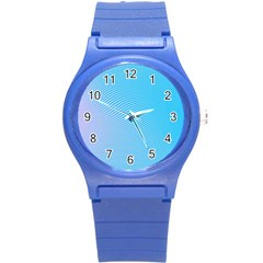 Background Graphics Lines Wave Round Plastic Sport Watch (s)