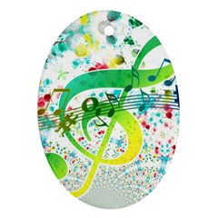 Points Circle Music Pattern Ornament (oval)