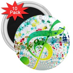 Points Circle Music Pattern 3  Magnets (10 Pack)