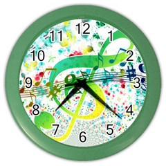 Points Circle Music Pattern Color Wall Clocks
