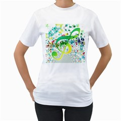 Points Circle Music Pattern Women s T Shirt (white)