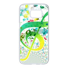 Points Circle Music Pattern Samsung Galaxy S7 Edge White Seamless Case