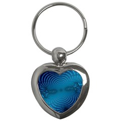 Blue Background Brush Particles Wave Key Chains (heart)