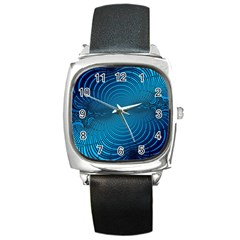 Blue Background Brush Particles Wave Square Metal Watch