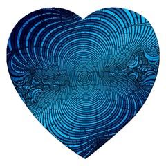 Blue Background Brush Particles Wave Jigsaw Puzzle (heart)