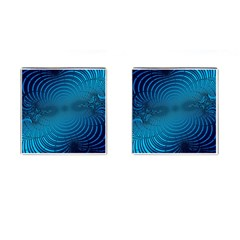 Blue Background Brush Particles Wave Cufflinks (square)