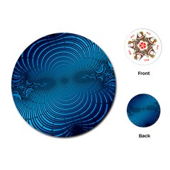 Blue Background Brush Particles Wave Playing Cards (round)