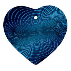 Blue Background Brush Particles Wave Heart Ornament (two Sides)