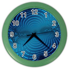 Blue Background Brush Particles Wave Color Wall Clocks