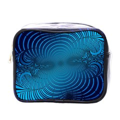 Blue Background Brush Particles Wave Mini Toiletries Bags