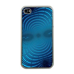 Blue Background Brush Particles Wave Apple Iphone 4 Case (clear)