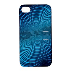 Blue Background Brush Particles Wave Apple Iphone 4/4s Hardshell Case With Stand