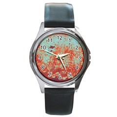 Orange Blue Rust Colorful Texture Round Metal Watch by Nexatart
