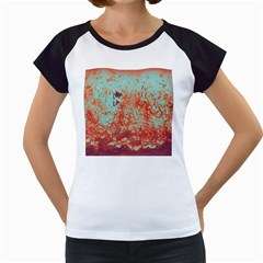 Orange Blue Rust Colorful Texture Women s Cap Sleeve T by Nexatart