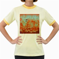 Orange Blue Rust Colorful Texture Women s Fitted Ringer T Shirts by Nexatart