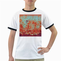 Orange Blue Rust Colorful Texture Ringer T Shirts by Nexatart