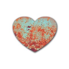 Orange Blue Rust Colorful Texture Heart Coaster (4 Pack)