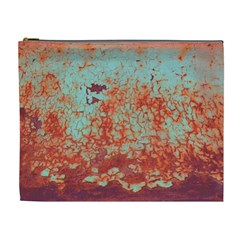 Orange Blue Rust Colorful Texture Cosmetic Bag (xl)