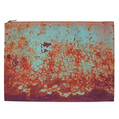 Orange Blue Rust Colorful Texture Cosmetic Bag (xxl)