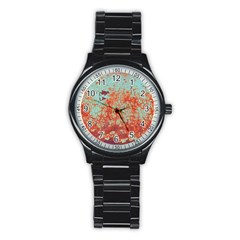 Orange Blue Rust Colorful Texture Stainless Steel Round Watch