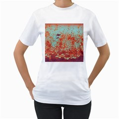 Orange Blue Rust Colorful Texture Women s T Shirt (white)