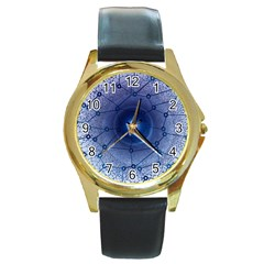 Network Social Abstract Round Gold Metal Watch