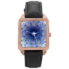 Network Social Abstract Rose Gold Leather Watch