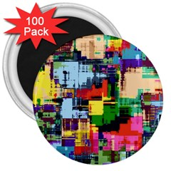 Color Abstract Background Textures 3  Magnets (100 Pack)