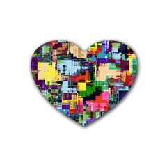 Color Abstract Background Textures Heart Coaster (4 Pack)