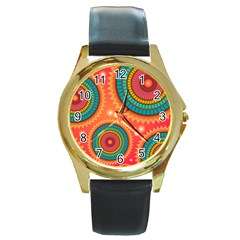 Background Texture Mosaic Pink Round Gold Metal Watch