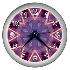 Abstract Glow Kaleidoscopic Light Wall Clocks (silver)