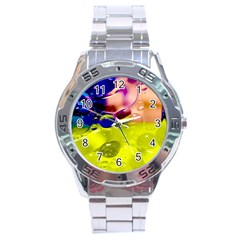 Abstract Bubbles Oil Stainless Steel Analogue Watch