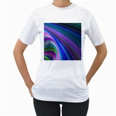 Background Abstract Curves Women s T Shirt (white) (two Sided)