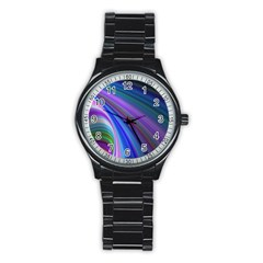 Background Abstract Curves Stainless Steel Round Watch