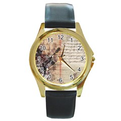 Art Collage Design Colorful Color Round Gold Metal Watch