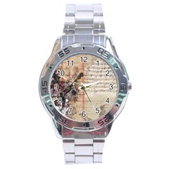 Art Collage Design Colorful Color Stainless Steel Analogue Watch