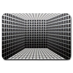 Space Glass Blocks Background Large Doormat