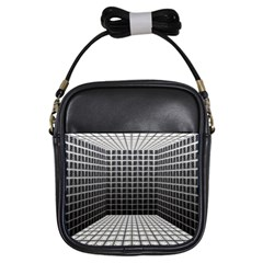 Space Glass Blocks Background Girls Sling Bags