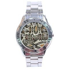 Fabric Textile Abstract Pattern Stainless Steel Analogue Watch