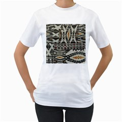 Fabric Textile Abstract Pattern Women s T Shirt (white)