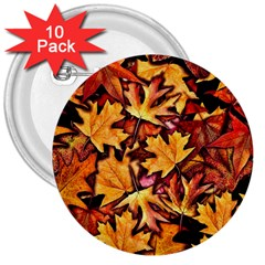 Fall Leaves Pattern 3  Buttons (10 Pack)