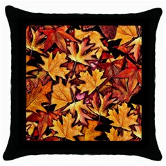 Fall Leaves Pattern Throw Pillow Case (black)