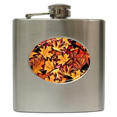 Fall Leaves Pattern Hip Flask (6 Oz) by bloomingvinedesign